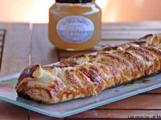 Trenza de hojaldre caramelizada de membrillo, queso de cabra y cebolla endulzada, Receta Petitchef