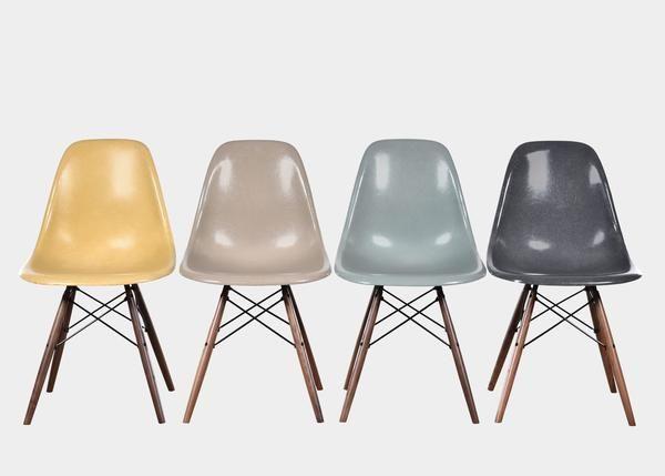 Vintage Eames DSW Set (Ochre Light, Greige, Sea Foam Green, Elephant Hide Grey) www.joink.nl