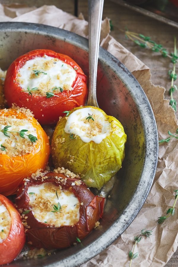 Roasted Goat Cheese Stuffed Heirloom Tomatoes. Celebrate the end of summer with juicy roasted tomatoes stuffed with a goat cheese creme fraiche mixture. #inspired @lovemysilk