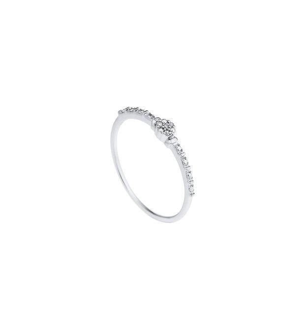 Bague Solitaire Véritables Diamants 0,014 Carats  Corps Serti