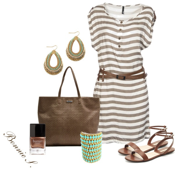 brown & turquoise, created by bonnaroosky on Polyvore: Summer Dresses, Brown Turquoise, Fashion, Dreams Closet, Brown Bags, Cute Summer Outfits, Outfits Ideas, Summertime Outfits, The Dresses