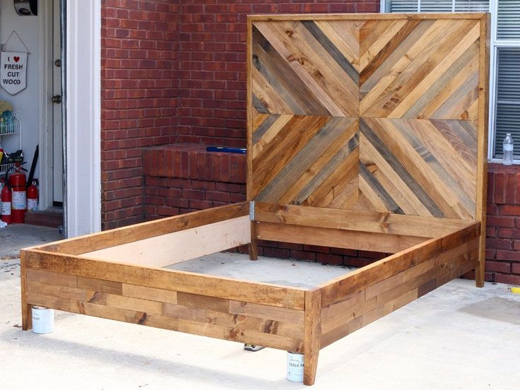 Diy west elm inspired chevron reclaimed wood bed day bed - Cool queen bed frames ...