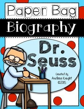 Paper Bag Biography: Dr. Seuss - This is a great project for kids in grades 1 or 2 and is a perfect supplement to an author study or biography unit. Kids will use quotes, fun facts, timelines, a talk-show interview, and a monologue to learn about this favorite author. #drseuss #authorstudy $