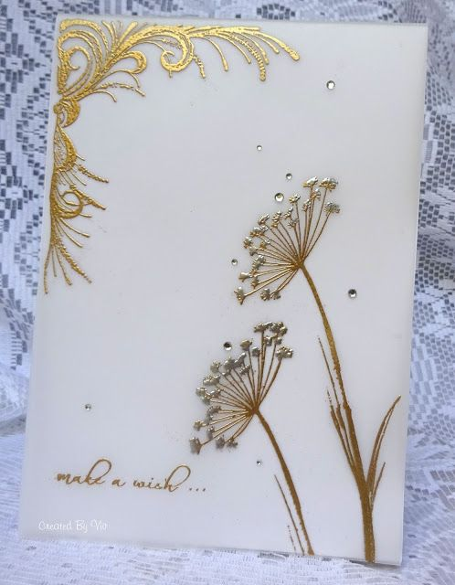 handmade card from Viv's Visuals .. gold embossing on vellum ... luv the milky look of the vellum ...