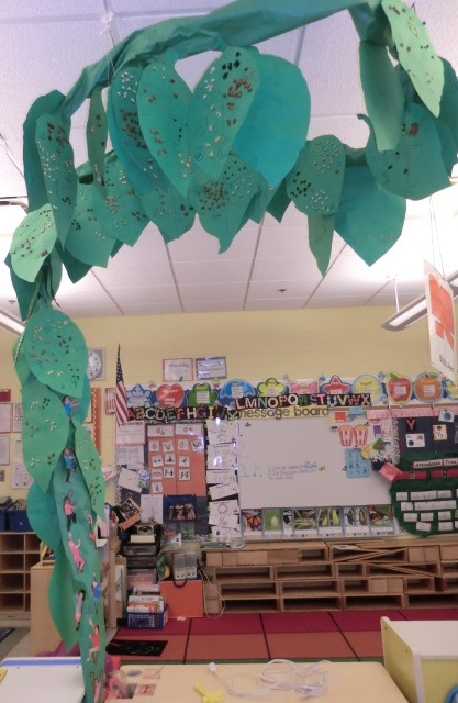 Jack and the Beanstalk.   Make a beanstalk  in your classroom.