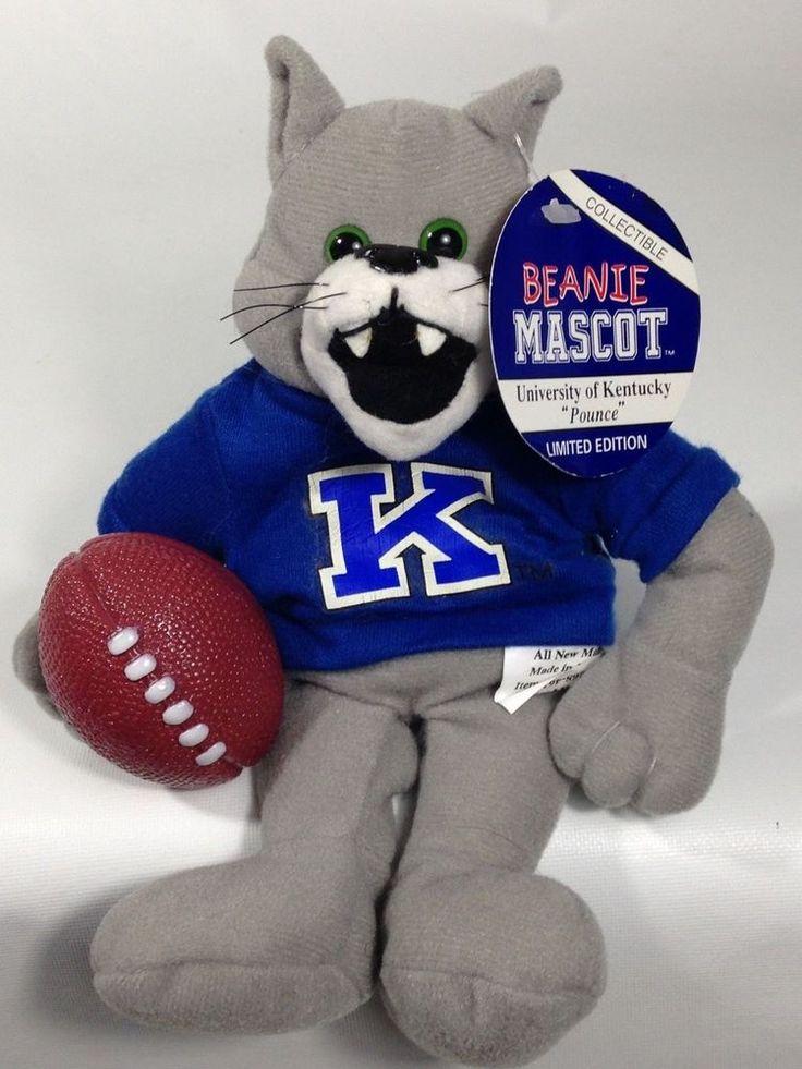 University of Kentucky Pounce Beanie Mascot  Holds Football Bean Bag Plush #PlanetTrademark