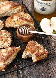 Honey Apple Buttermilk Scones - filled with apples and sweetened only with honey.