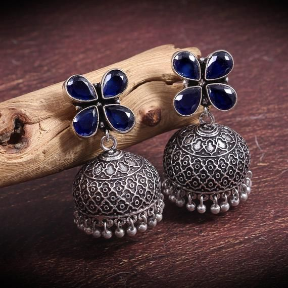 Kashmiri Bollywood Silver Oxidized Indian Jhumka Earrings Adjustable Ring Combo