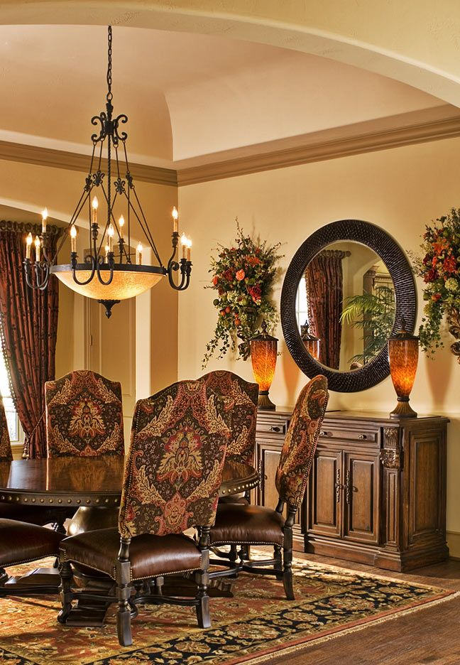 Tuscan Style Dining Room Everything Except The Chairs Buffet Mirror And Vases