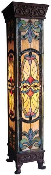 Stained glass Tiffany style tall pedestal floor lamp