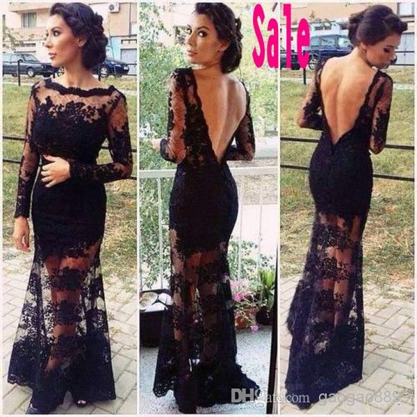 2014 blackless black lace long sleeves bateau evening dresses mermaid celebrity pageant party prom wedding gowns free shipping Oscar cheap