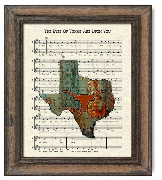 Texas Longhorns Art Print UT Austin Fight Song by WordsandMusicArt