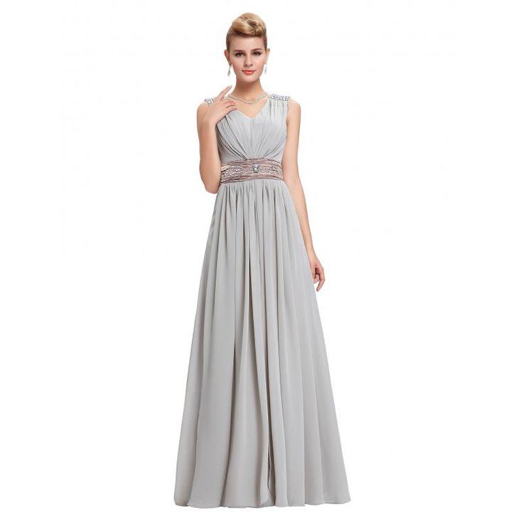 Sivé spoločenské šaty CL3403