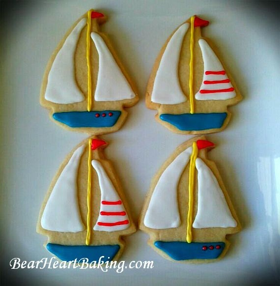 Sailboat Cookies, Nautical Baby Shower or Birthday Party