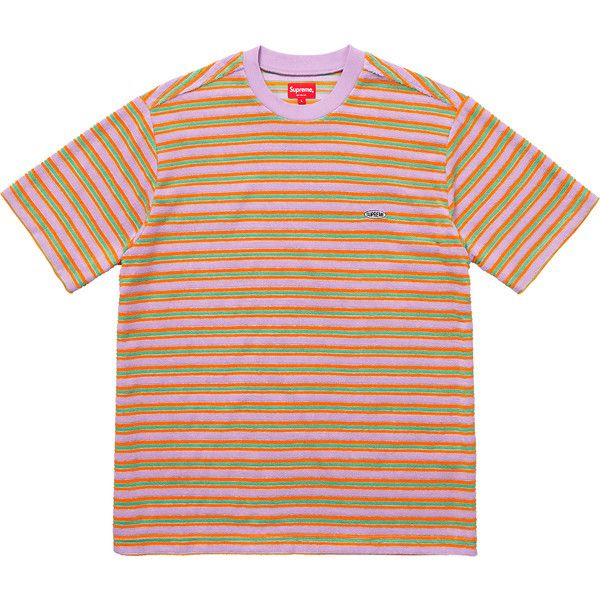 8a9563529e Supreme Multi Stripe Terry Tee ❤ liked on Polyvore featuring tops, t-shirts,  stripe t shirt, terry tee, terry top, stripe top and orange t shirt