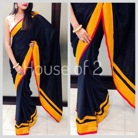 Black French Crepe saree-Sarees-House of 2