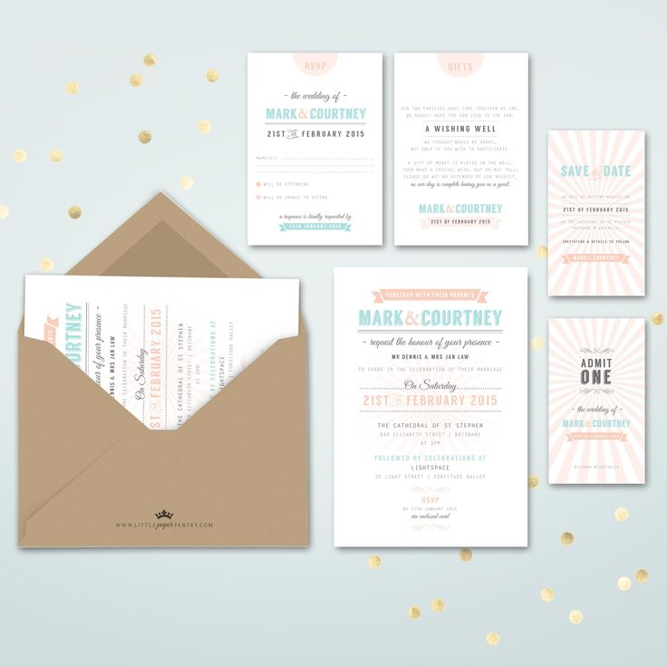 A5 wedding invitation with peach and duck egg blue design and a recycled kraft envelope