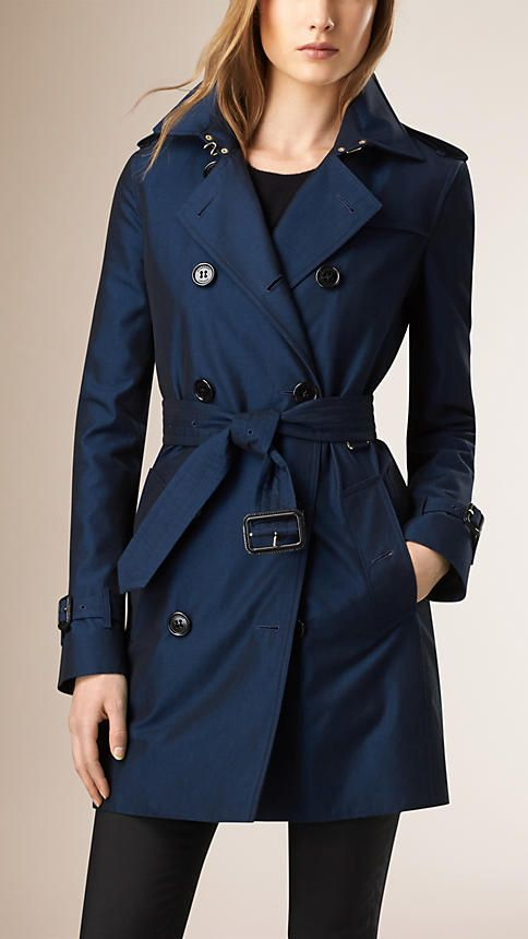 Beautiful color and cut.  Bright regency blue Gabardine Trench Coat with Warmer - Image 1