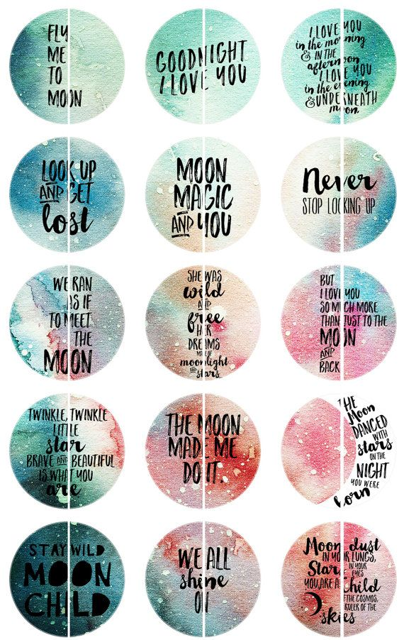 Moon Quotes Magnets, Inspiring Quotes, Stay Wild Moon Child, 25 mm, 12 ct