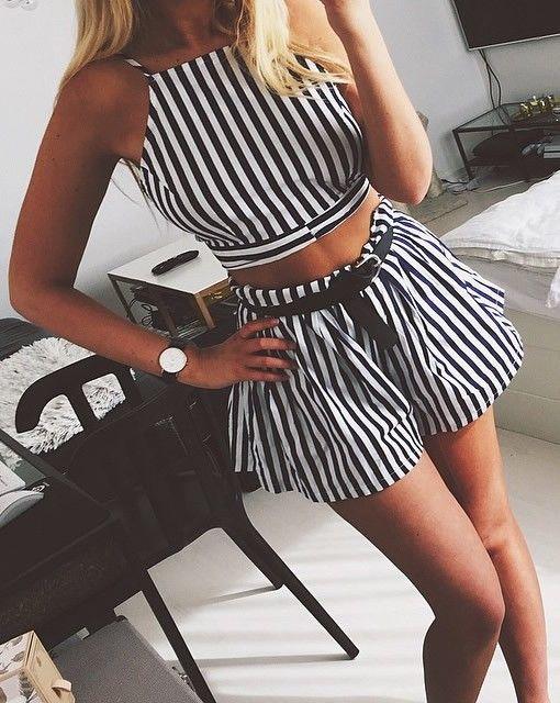 Nautical Stripe Shorts Co-ord Set <3