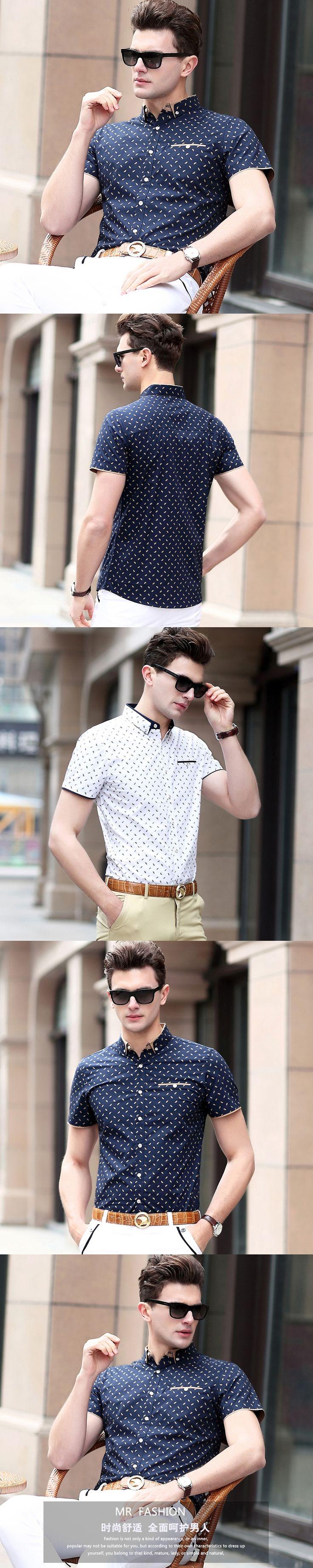 Free Shipping New Arrival 2017 Men Shirts Short Sleeve Striped Formal Man Cotton Shirt Summer Male Dress Shirts