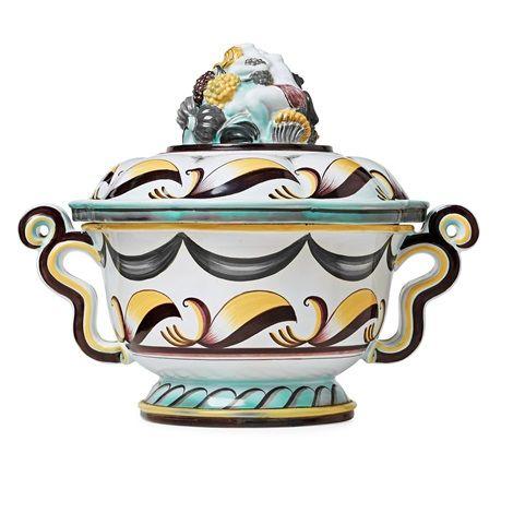 A creamware lidded wine tureen designed by Swedish artist and designer Arthur Percy (1886–1976) - c. 1920