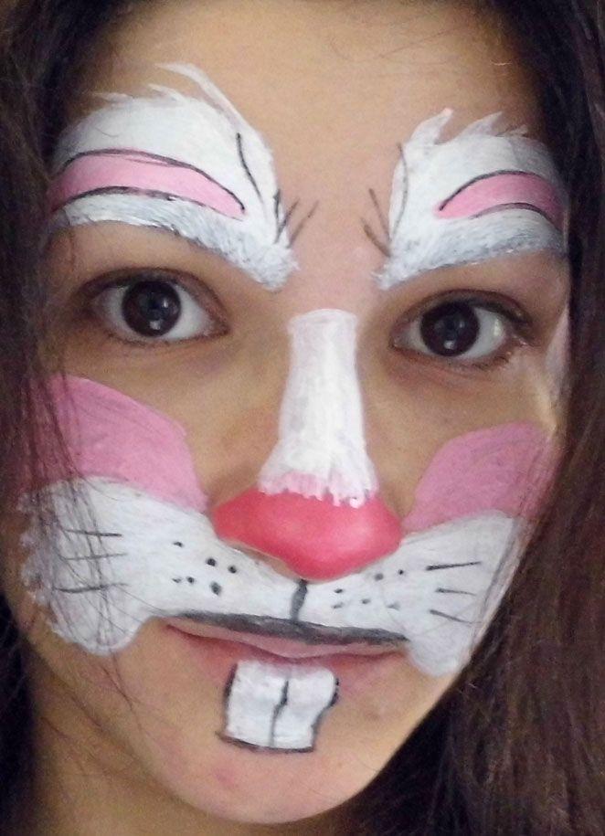 Hasen auf Gesicht schminken - fertig