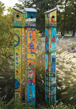 Totally cool vinyl birdhouse and pole in one! Welcome, Friends or Peace bird homes are innovative reproductions of hand painted, wood burned artwork by Stephanie Burgess. Durable vinyl features rich v