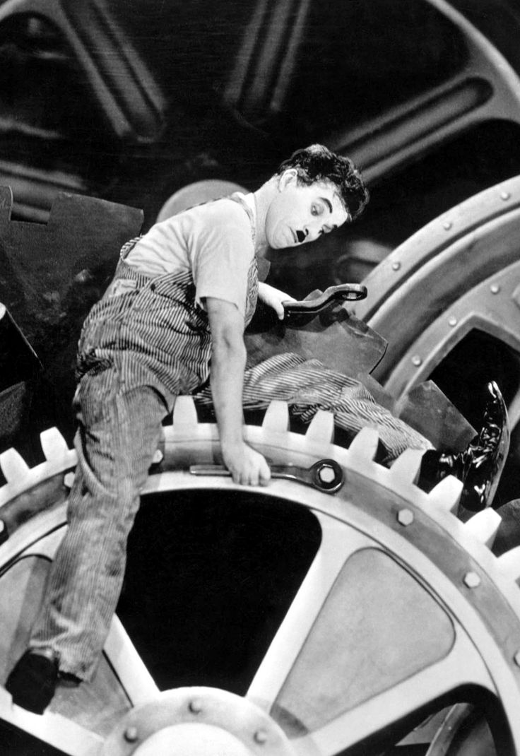 """Modern Times (1936) - """"Remember, if you wish to keep ahead of your competitor, you cannot afford to ignore the importance of the Billows Feeding Machine."""""""