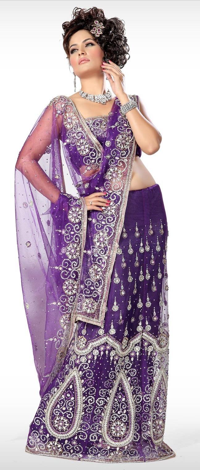 #Purple Net #Lehenga Style #Saree with Blouse @ $240.03
