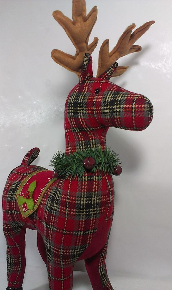 Christmas Holiday Red Plaid Reindeer 24