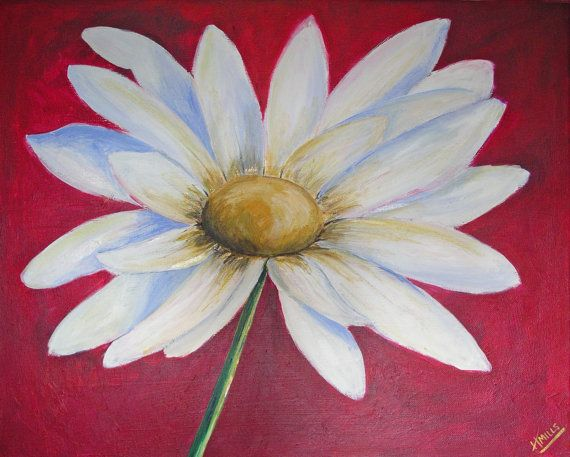 Daisy Red  Acrylic Painting on Canvas  20 x by ScarletDesignsShop, £40.00
