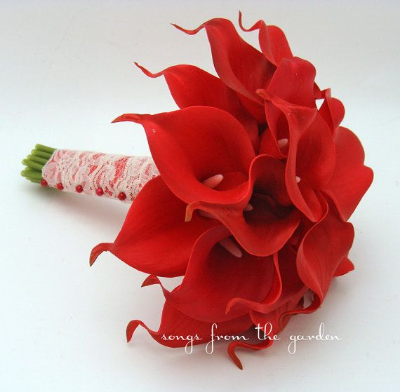 Red Real Touch Calla Lily Bridal Bouquet Groom's Boutonniere Red Ribbon Ivory Lace Wrap - Wedding Bouquet Real Touch Red Mini Calla Lilies on Etsy, $90.00