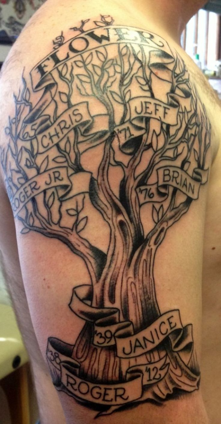 30 Family Tree Tattoos Tree tattoo men, Family tree
