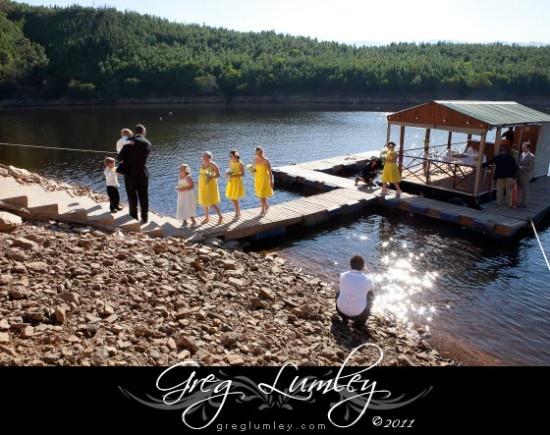 Mofam wedding photos barge with bridesmaids on lake