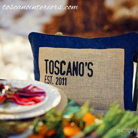 Personalized Pillow   Toscano Interiors Refurbished Dining Room Table And  Chairs   Toscano Interiors Diningware And