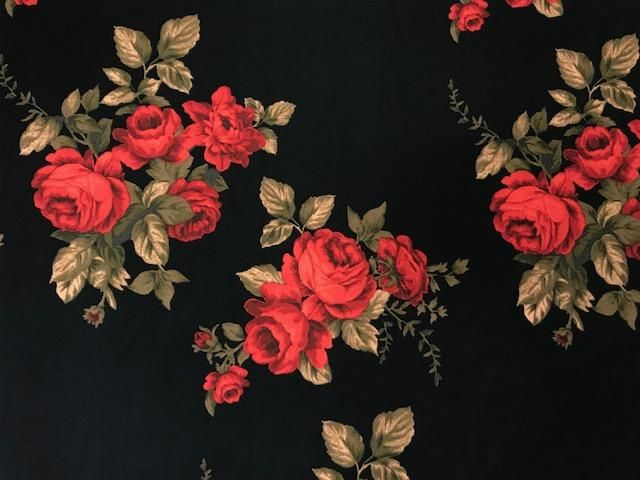 Black With Red Rose Double Brushed Fabric Black And Red Roses Red Roses Wallpaper Red Roses