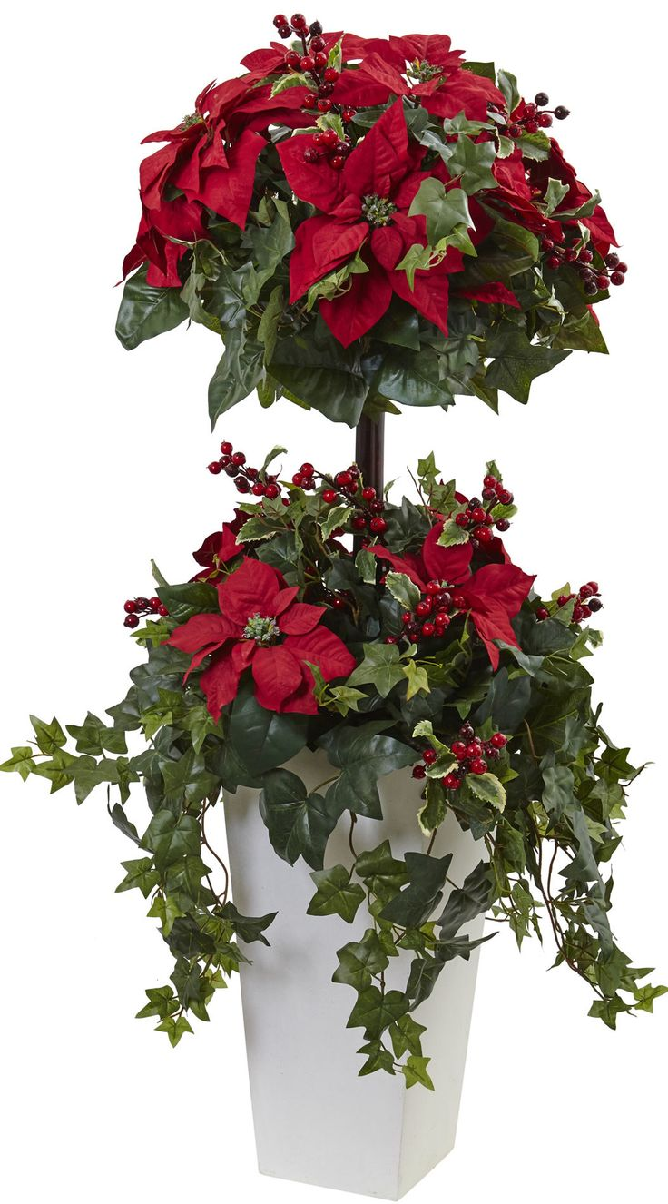 Poinsettia Berry Round Tapered Topiary in Planter