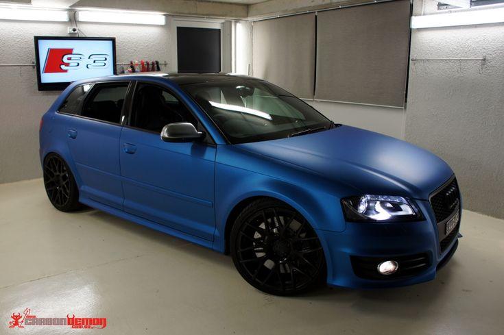 Matte blue metallic vinyl wrap Audi S3 by Carbon Demon Sydney ...