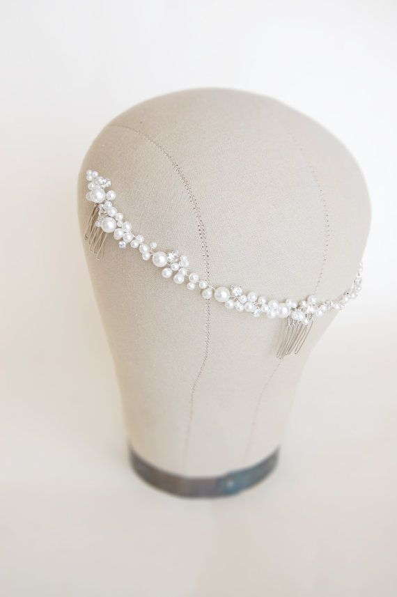 Wedding pearl head band, pearl hair comb, bridal hair brooch, bride hair accessory, crystal forehead band - silver - Cherie