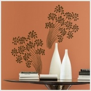 "Flocked Floral Appliques    Dimensions: 1 sheet of 40"" x 18"" - 2 Decals    You really need to be able to touch this design to fully appreciate its full flavour! This set of abstract brown floral swirls is printed using a ""flocked"" process that gives the entire design the feel of rich velvet. This exquisite wall sticker is reusable and can be repositioned, and leaves no sticky residue behind if removed. You'll want it up forever!"