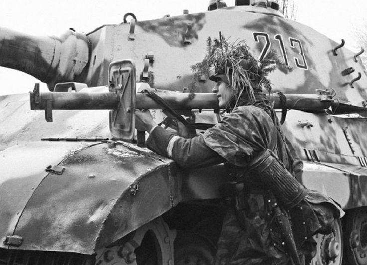 Reenactment Soldier on King Tiger 213 in La Gleize, Belgium