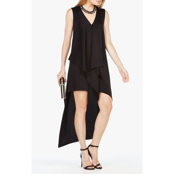 BCBGMAXAZRIA Tara Cascade-Ruffle Dress (240 CAD) ❤ liked on Polyvore featuring dresses, black, hi low party dresses, hi low dress, hi low maxi dress, holiday party dresses and party maxi dresses