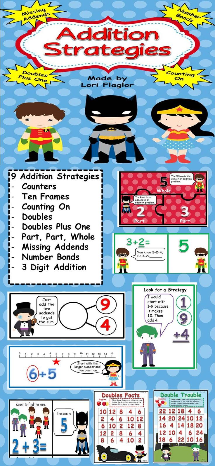 Your children will turn into math superheroes after completing these 9 Addition Strategies Learning Centers.