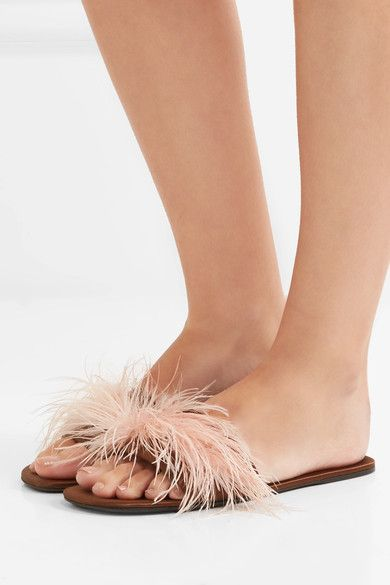 Prada - Feather-embellished Satin Slides - Brown - IT39.5