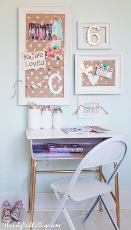 Cute $10 vintage desk makeover and little girl's craft area, love the DIY bulletin boards!