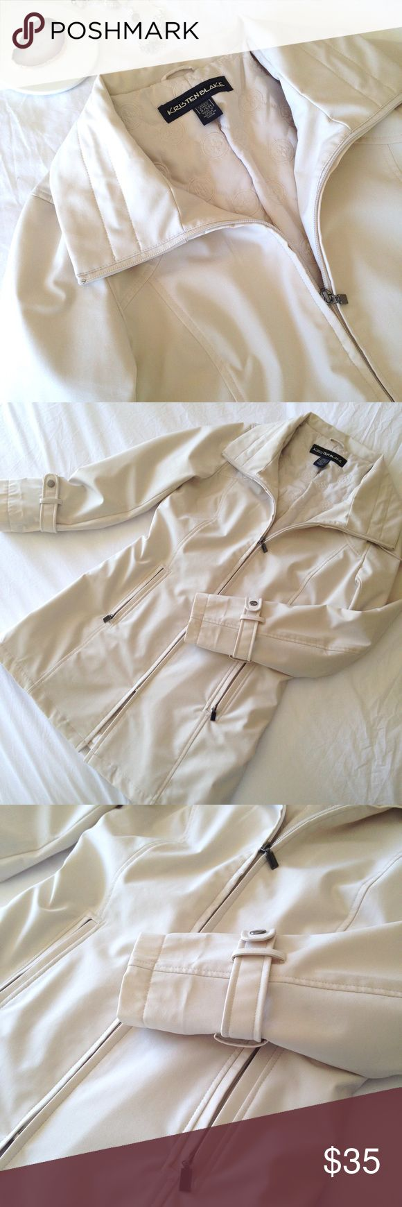 Kristin Blake Ivory coat Lightweight, water-resistant coat perfect for fall/spring. Zippered pockets, cinch collar, beautiful quilted lining. Size Small. Excellent condition. No flaws. Kristen Blake Jackets & Coats Trench Coats