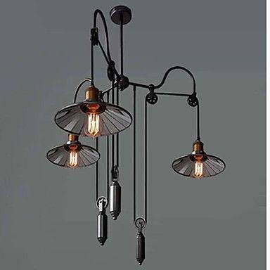 Ecolight®+Vintage+Pully+Pendant+Lights+3+Island+Foyer+Dinning+Study+Metal++Galss+inside+shade+–+GBP+£+165.19