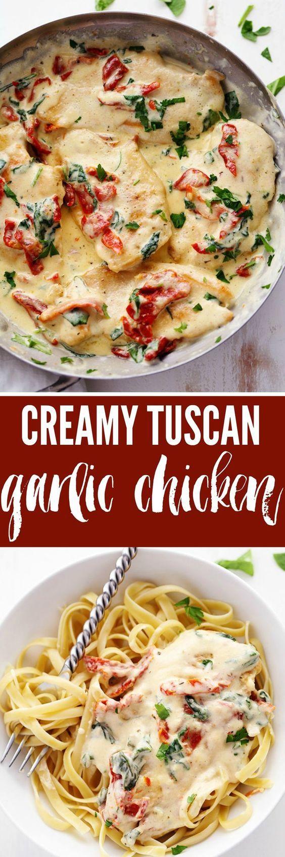 Creamy Tuscan Garlic Chicken has the most amazing creamy garlic sauce with…