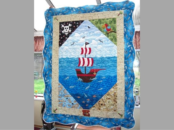 how cute is this pirate quilt??? i have some pirate fabric too!